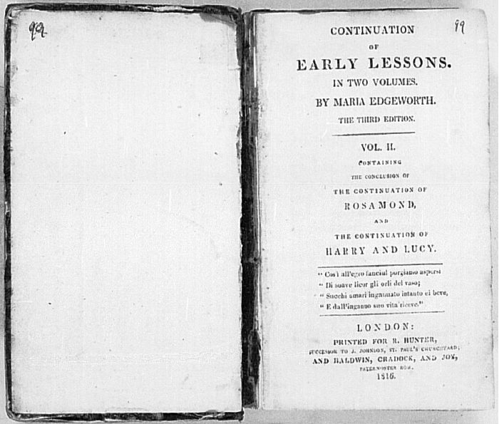 belinda maria edgeworth essay Her first publication was a proto-feminist essay about women's education, titled  letters to literary ladies (1795) among her more notable novels are castle rackrent(1800), belinda(1801), and the absentee(1812) her nonfiction includes, among others, essay on irish bulls (1802), and her father's life story, simply titled.